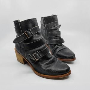 Kelsi Dagger Black Distressed Leather Heel Booties